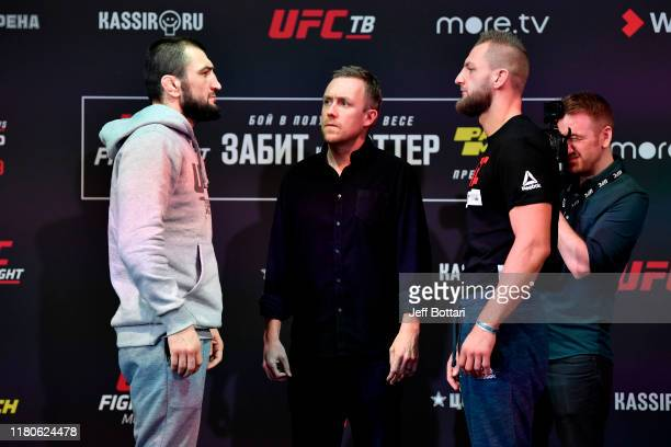 Abubakar Nurmagomedov and David Zawada of Germany face off during UFC Fight Night Ultimate Media Day at Arbat Hall on November 7 2019 in Moscow Russia