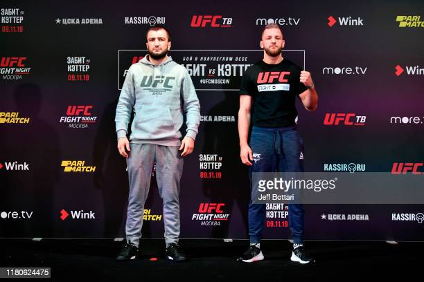 Abubakar Nurmagomedov and David Zawada of Germany pose during UFC Fight Night Ultimate Media Day at Arbat Hall on November 7 2019 in Moscow Russia