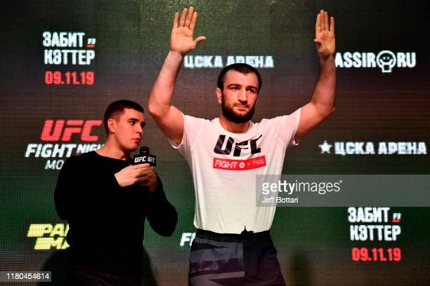 Abubakar Nurmagomedov holds an open training session for fans and media during UFC Fight Night open workouts at Arbat Hall on November 6 2019 in...