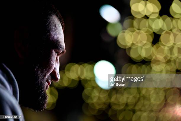 Abubakar Nurmagomedov interacts with media during UFC Fight Night Ultimate Media Day at Arbat Hall on November 7 2019 in Moscow Russia