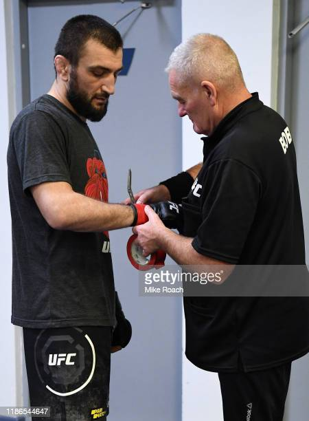 Abubakar Nurmagomedov of Russia has his hands wrapped prior to his fight during the UFC Fight Night event at CSKA Arena on November 09 2019 in Moscow...
