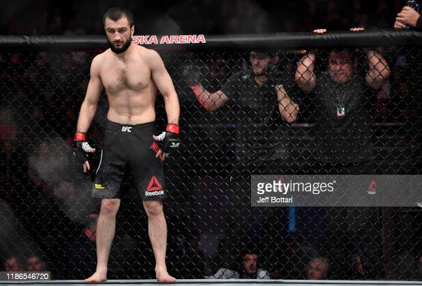 Abubakar Nurmagomedov of Russia prepares to fight David Zawada of Germany in their welterweight bout during the UFC Fight Night event at CSKA Arena...