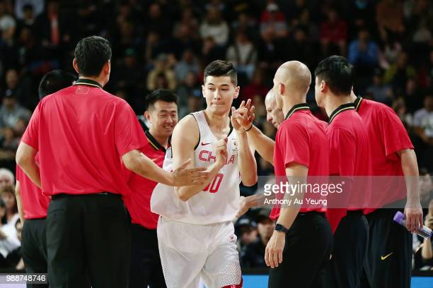 Abudushalamu Abudurexiti of China during the players introduction ahead of the FIBA World Cup Qualifying match between the New Zealand Tall Blacks...