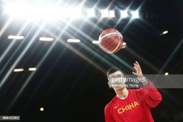 Abudushalamu Abudurexiti of China during warm up prior to the FIBA World Cup Qualifying match between the New Zealand Tall Blacks and China at Spark...