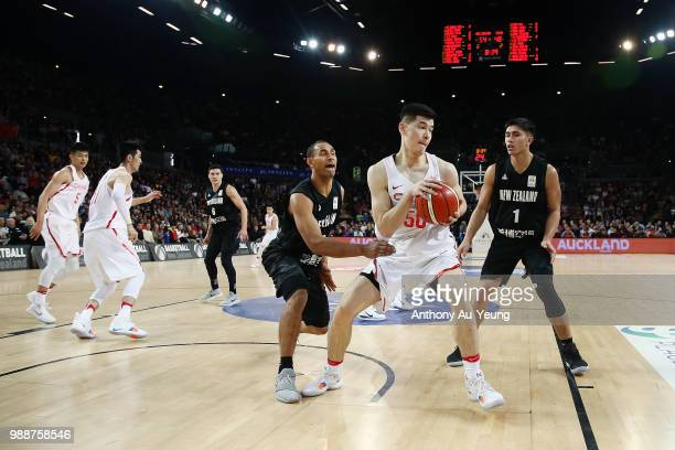 Abudushalamu Abudurexiti of China in action during the FIBA World Cup Qualifying match between the New Zealand Tall Blacks and China at Spark Arena...