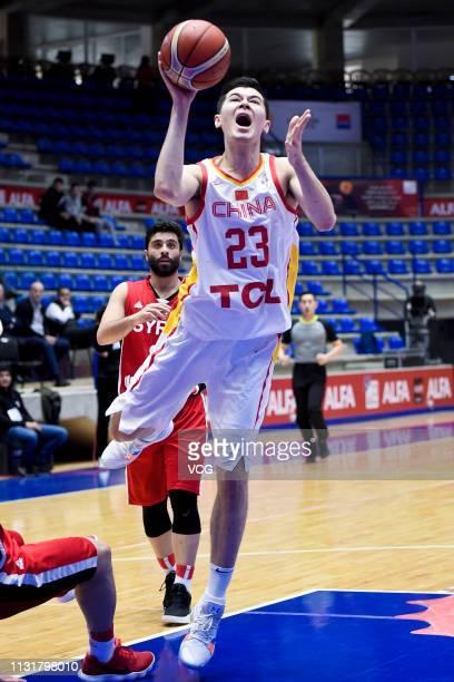Abudushalamu Abudurexiti of China shoots the ball during the FIBA Basketball World Cup 2019 Qualifiers match between China and Syria on February 24...