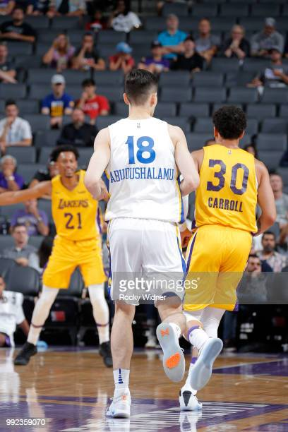 Abudushalamu Abudurexiti of the Golden State Warriors plays against the Los Angeles Lakers during the 2018 Summer League at the Golden 1 Center on...