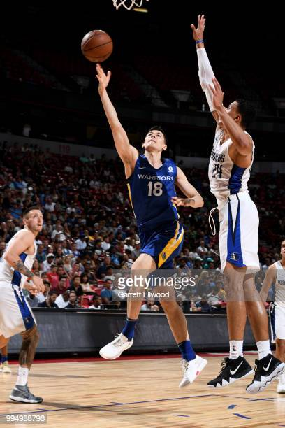 Abudushalamu Abudurexiti of the Golden State Warriors shoots the ball against the Dallas Mavericks during the 2018 Las Vegas Summer League on July 9...