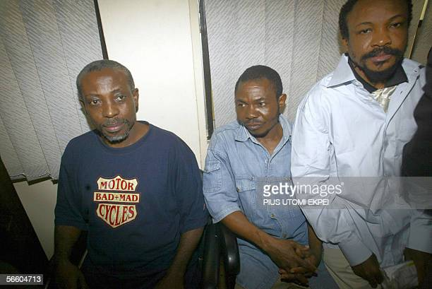 Leader of the banned Movement for the Actualisation of the Sovereign State of Biafra Ralph Uwazuruike sits with some of the members of MASSOB in the...