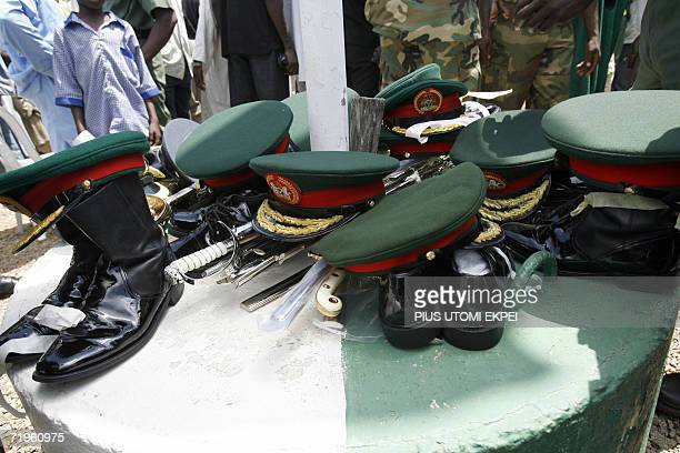 Military paraphernalias belonging to dead army generals are on display at the military national cementry in Abuja 21 September 2006 during the burial...