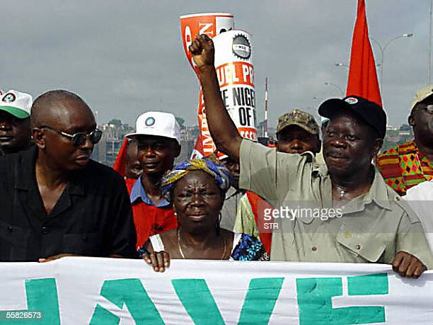 President of the Nigerian Labour Congress Adams Oshiomhole march with workers during protest march in Abuja 29 September 2005 by labour and civil...
