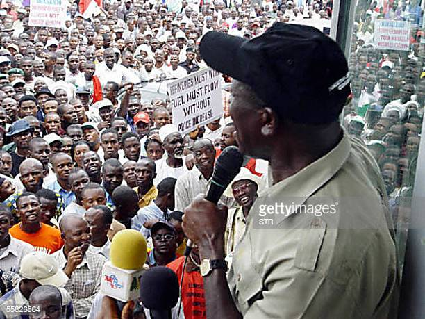 President of the Nigerian Labour Congress Adams Oshiomhole address workers during protest march in Abuja 29 September 2005M by labour and civil...