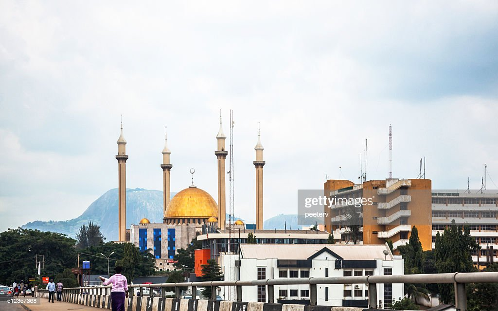 Abuja view with National Mosque, Nigeria. : Stock Photo