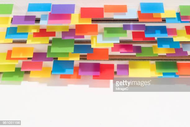 abundance of colorful bookmarks - educational subject stock photos and pictures