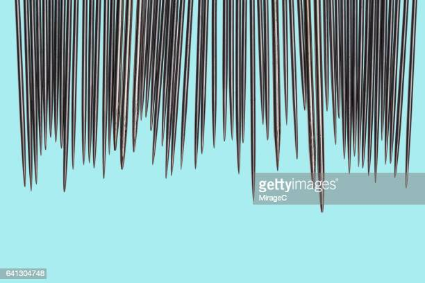 abundance of sewing needles and pins - sharp stock pictures, royalty-free photos & images