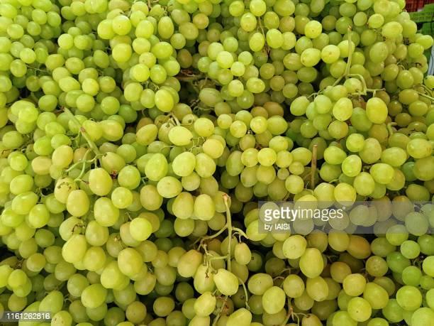 abundance of white grape at the market full frame - traube stock-fotos und bilder