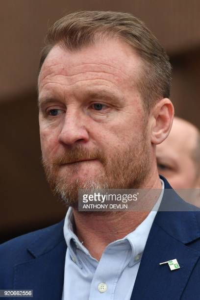 Abuse victim of former football coach Barry Bennell Micky Fallon reacts outside Liverpool Crown Court on February 19 2018 after the sentencing of...