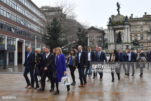 Abuse victims of former football coach Barry Bennell Chris Unsworth and Steve Walters arrive at Liverpool Crown Court on February 19 2018 for the...
