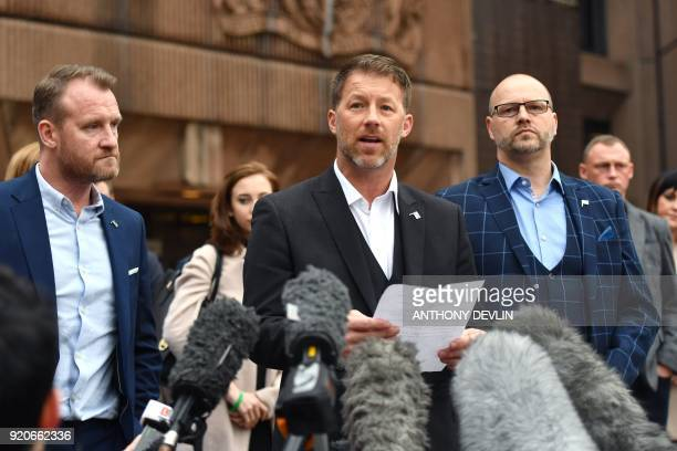 Abuse victims of former football coach Barry Bennell Micky Fallon Steve Walters and Chris Unsworth speak outside Liverpool Crown Court on February 19...