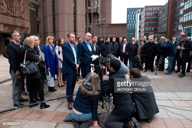Abuse victims of former football coach Barry Bennell Micky Fallon Chris Unsworth and Steve Walters speak to the media outside Liverpool Crown Court...