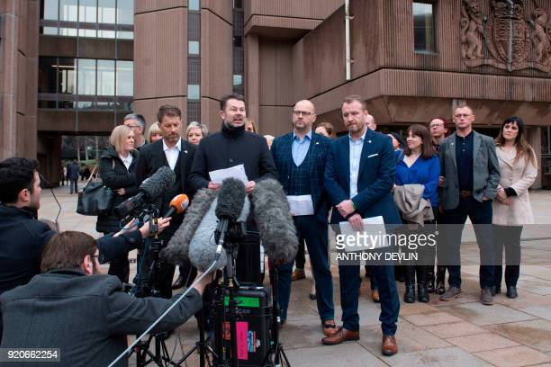 Abuse victims of former football coach Barry Bennell Steve Walters Gary Cliffe Chris Unsworth and Micky Fallon speak outside Liverpool Crown Court on...