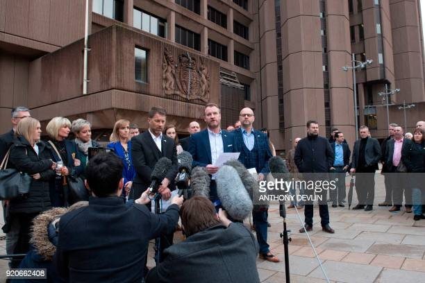 Abuse victims of former football coach Barry Bennell Steve Walters Micky Fallon and Chris Unsworth speak outside Liverpool Crown Court on February 19...