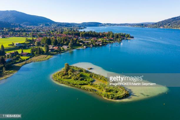abwinkl and ringseeinsel, tegernsee, aerial view, upper bavaria, bavaria, germany - tegernsee stock pictures, royalty-free photos & images