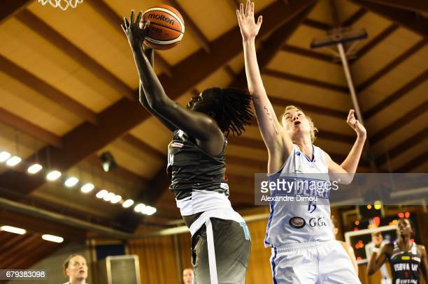 Aby Gaye of Villeneuve d Asq and Elodie Godin of Montpellier during the women's french League final match between Montpellier Lattes and Villeneuve...