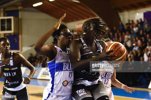 Aby Gaye of Villeneuve d Asq and Fatimatou Sacko of Montpellier during the women's french League final match between Montpellier Lattes and...
