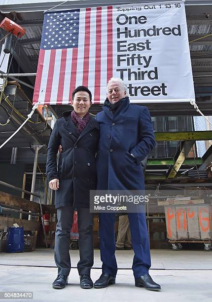Aby Rosen of RFR and Kaiyan Lee of Vanke pose for a picture as 100 E 53rd St as RFR's 100 E 53rd St property tops off on January 13 2016 in New York...