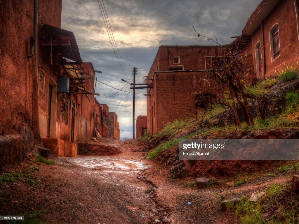 Abyaneh Village under the rain, Iran - 27 April 2017 : Stock Photo