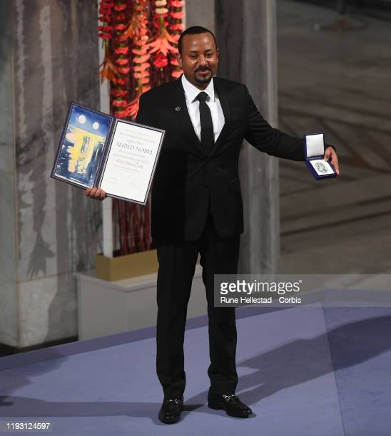 Abyi Ahmed Ali attends the Nobel Peace Prize ceremony 2019 at Oslo City Town Hall on December 10 2019 in Oslo Norway The Prime Minister of Ethiopia...