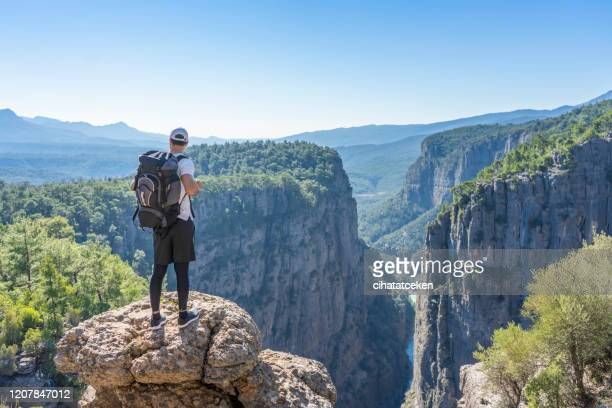 abyss canyon mountain summit hound canyon antalya landscape travel lifestyle success motivation concept adventure active vacation outdoor - active lifestyle stock pictures, royalty-free photos & images