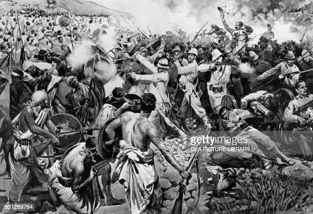 Abyssinian forces attacking the Italian Brigadier General Vittorio Emanuele Dabormida March 1 1896 Battle of Adwa Ethiopia engraving from...