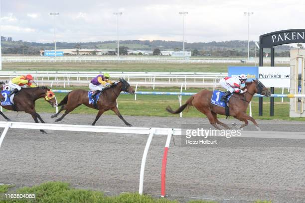Abyssinian ridden by Carleen Hefel wins the Laurie Fenton Memorial Get Out Stakes BM58 Handicap at Racingcom Park Synthetic Racecourse on August 25...