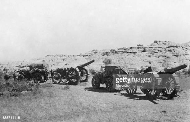 Abyssinian War Circa October 1935 Italian forces seen with 120mm gun near to the slopes of Edaga Hamus