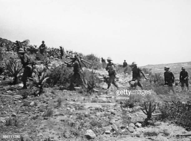 Abyssinian War October 1935 Italian infantry with machine guns follow in the wake of the tanks during their advance from Adigrat to Makale