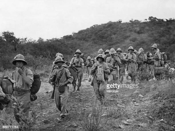 Abyssinian War October 1935 Italian soldiers seen here advancing on Adowa 5th October 1935