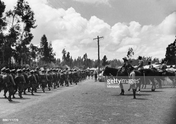 Abyssinian War September 1935 A mounted officer taking the salute as the Abyssinian army march through the streets of Addis Ababa during the Meskel...