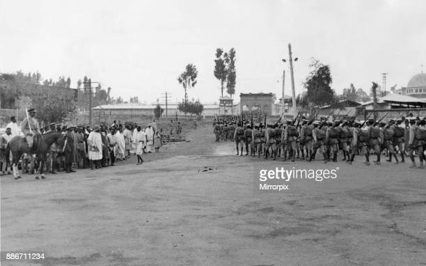Abyssinian War September 1935 Abyssinian army seen passing through the streets of Addis Ababa during the Meskel Feast Following the parade the army...