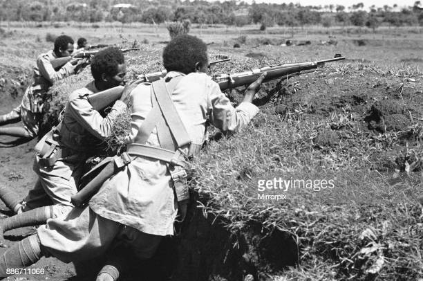 Abyssinian War September 1935 Soldiers of the Abyssinian regular army seen here occupying trenches close to Harar on the Ogadan front