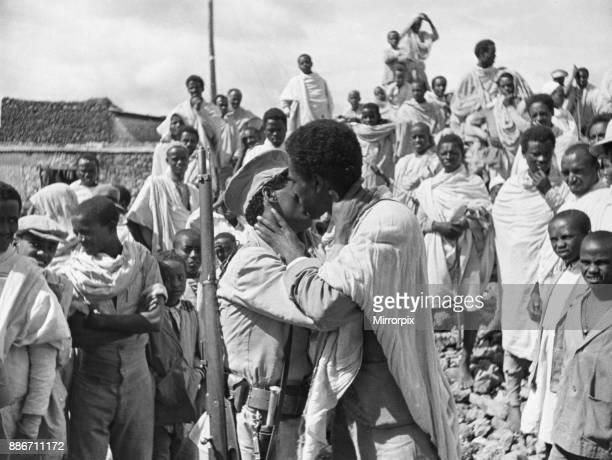 Abyssinian War September 1935 The Ethiopian Peasant army and their wives seen here assembling in the market square of Harah for the long journey by...