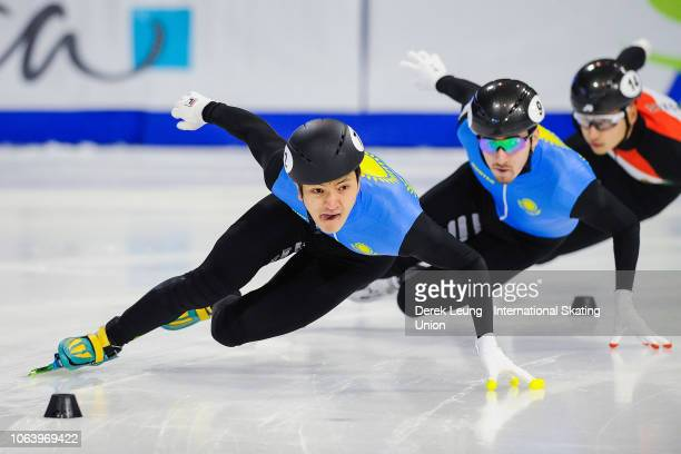 Abzal Azhgaliyev of Kazakhstan skates during the ISU World Cup Short Track Calgary at the Olympic Oval on November 3 2018 in Calgary Alberta Canada...
