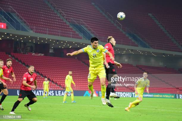 Abzal Beysebekov of Kazakhstan in action during UEFA Nations League C fourth group match between Albania and Kazakhstan in Tirana, Albania on...