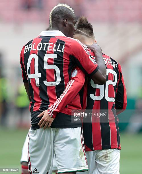 Ac Milan's midfielder Prince Kevin Boateng of Ghana greets Stephan El Shaarawy during the Italian Serie A football match between Ac Milan and Torino...