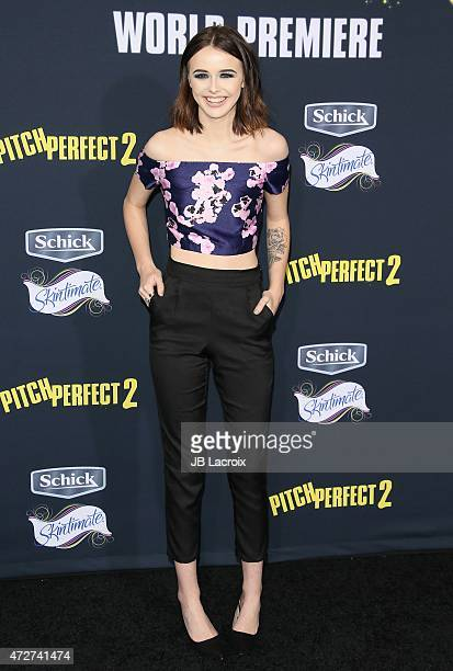 Acacia Brinley attends the 'Pitch Perfect 2' Los Angeles premiere held at the Nokia Theatre LA Live on May 8 2015 in Los Angeles California