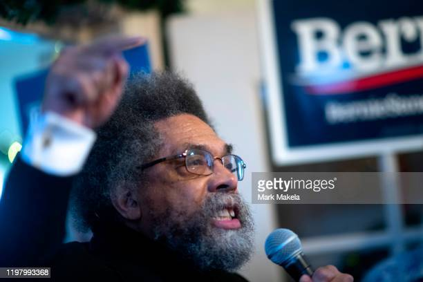 Academic Cornel West a supporter of Democratic Presidential candidate Bernie Sanders speaks during an event with local campaign volunteers at a field...