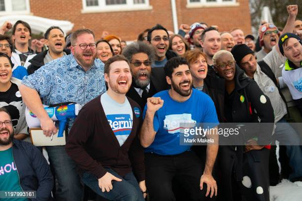 Academic Cornel West and actress Susan Sarandon supporters of Democratic Presidential candidate Bernie Sanders pose for a group photo with local...
