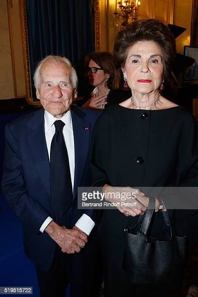 Academician Jean D'Ormesson and his wife Francoise d'Ormesson attend writer Marc Lambron receives 'L'Epee d'Academicien' of 'Academie Francaise' on...