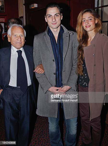 Academician Jean d'Ormesson stage director JeanLaurent Silvie and Silvie's companion Laetitia Thomas attend 'La Conversation' By Jean D'Ormesson at...